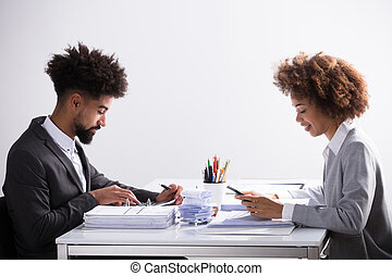 Two Businesspeople Analyzing Bill