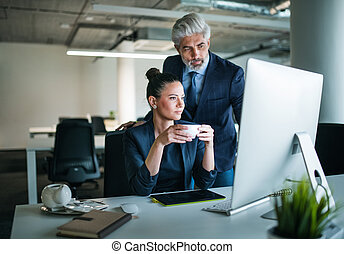 Two businesspeople with computer in an office at desk, working.