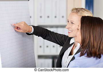 Two Businesswoman Giving Presentation - Portrait of two...