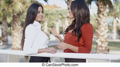 Two businesswoman in an urban park
