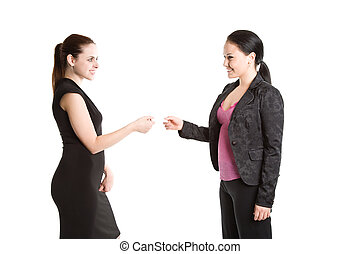 Two businesswomen and business card