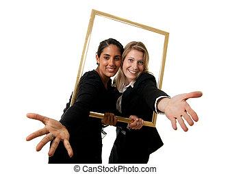 two businesswomen pictureframe