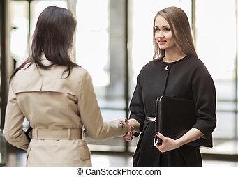 Two Businesswomen Shaking Hands In the Modern Office