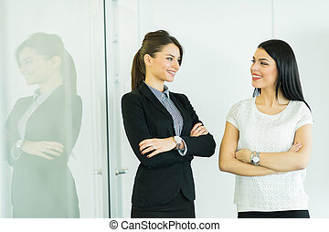 Two businesswomen talking in an office with reflection