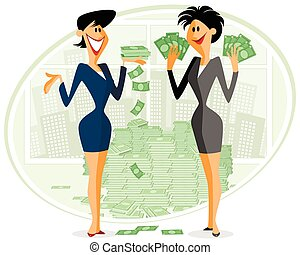 Two businesswomen with money