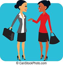 Two businesswomen - Women speaking to each other
