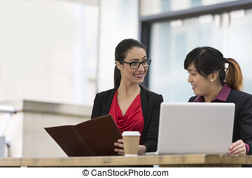 Two Businesswomen working together.