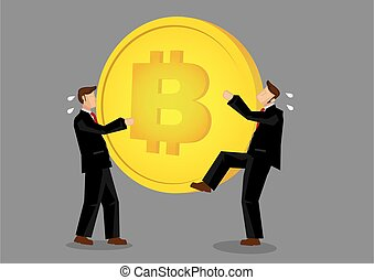 Two bussinessmen snatching for Bitcoin. Concept of the ...