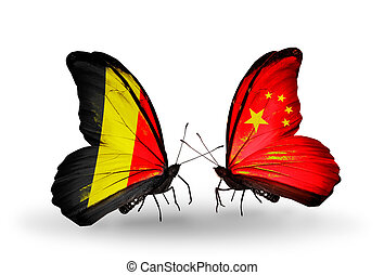 Two butterflies with flags on wings as symbol of relations Belgium and China