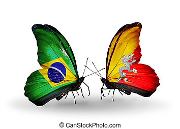 Two butterflies with flags on wings as symbol of relations Brazil and Bhutan