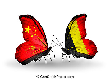 Two butterflies with flags on wings as symbol of relations China and Belgium