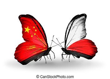 Two butterflies with flags on wings as symbol of relations China and Poland