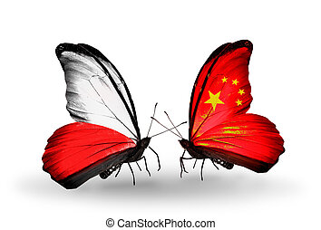 Two butterflies with flags on wings as symbol of relations Poland and China
