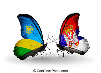 Two butterflies with flags