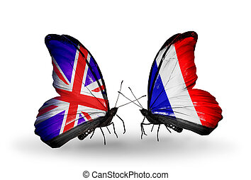 Two butterflies with flags on wings as symbol of relations UK and France