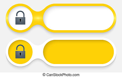 two buttons for entering text with padlock