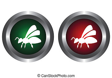 Two buttons with bee
