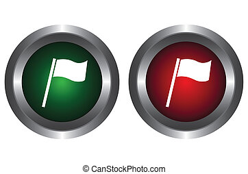 Two buttons with flag