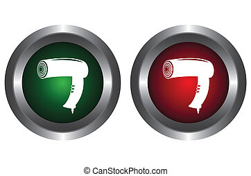 Two buttons with hairdryer