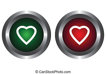 Two buttons with hearts
