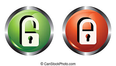 Two buttons with lock