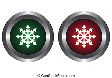 Two buttons with snowflakes
