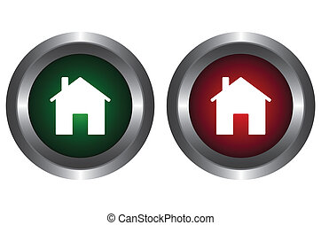 Two buttons with the house