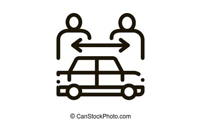 two buyers per car Icon Animation. black two buyers per car animated icon on white background