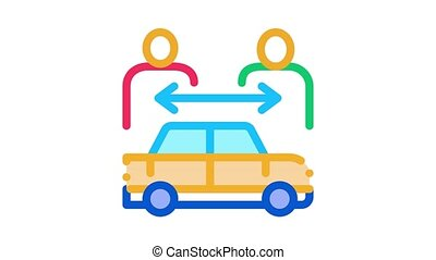 two buyers per car Icon Animation. color two buyers per car animated icon on white background