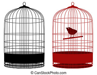 cage - two cages one with bird in vector mode
