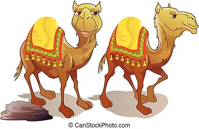 Two Camels, illustration - Two Camels, Brown, Smiling,...