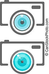 two camera icons with flat lense