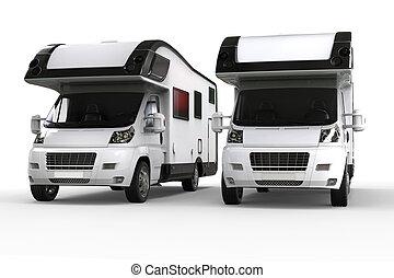 Two camper vans side by side