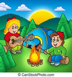 Two camping kids - color illustration.