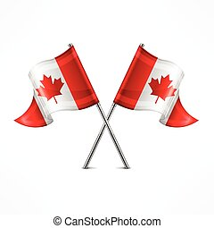 Two Canadian flag - Two crossed Canadian flag isolated on...