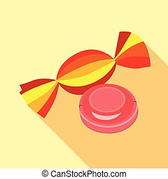 Two candies icon, flat style