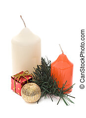 Two candles and christmas decoration