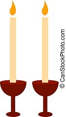 Two candles burning, illustration, vector on white background.