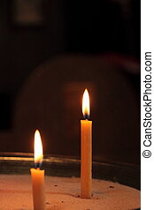 Two candles in church