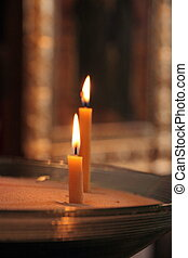 Two candles in church as