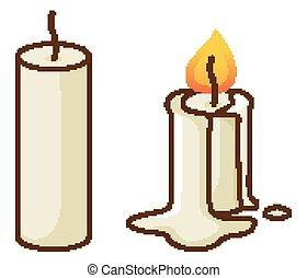Two candles on white background