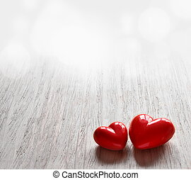Two candy hearts for Valentine's Day.