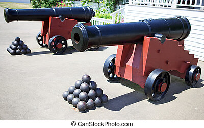 Two Cannons with balls