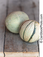 two cantaloupe melons