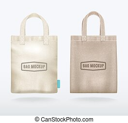 Two Canvas Mockup Realistic Shopping Bags