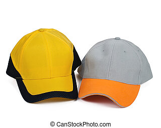 two caps - two baseball caps isolated on white background