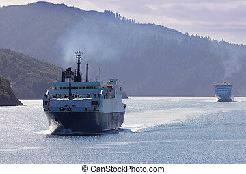 Huge car ferry ships in calm water of Marlborough Sounds South Island New Zealand