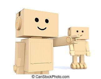 Two cardboard robots together