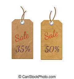 Two cardboard tags for sale. Vector eps10