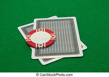 Two cards facing down with casino c